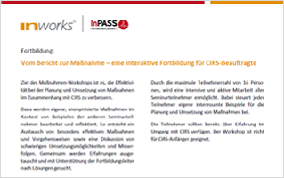 CIRS Maßnahmenworkshop im Oktober in Ulm