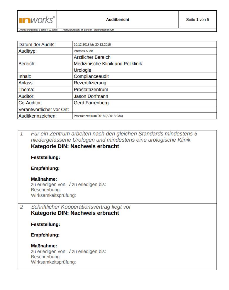 Auditmanagement Software - Auditbericht